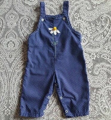 Vintage Baby Girl Polka Dot Overalls Applique Daisy Childrens Clothes Outfit