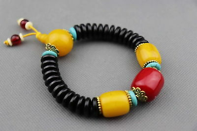 China Natural Beeswax Carved Vary in size Bead Moral Beauty Unique Bracelet