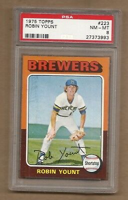 1975  Topps  Robin  Yount  Rookie  #  223   Psa  8