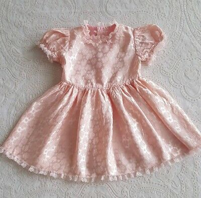 Vintage Baby Girls Toddler Pink Ruffled Dress Childrens Clothes