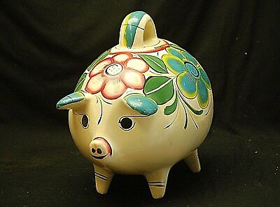 Whimsical FOLK ART Mexican Art Pottery Clay PIGGY BANK w Floral Design Signed