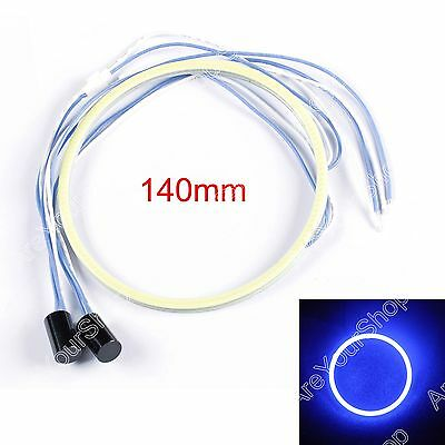 2x 140MM LED COB Chip SMD Angel Eyes Headlight Bright Halo Ring Light Blu CC