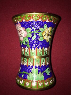 Exquisite Chinese cloisonné vase pen holder very detailed rare beautiful USA