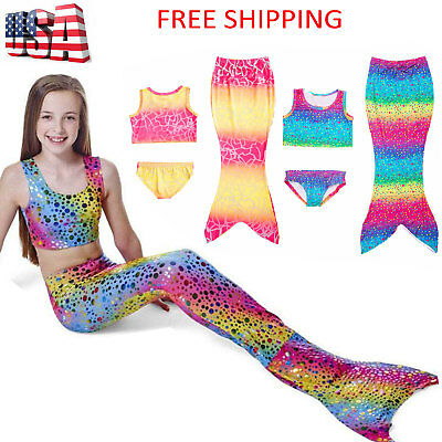 Girls Kids Mermaid Tail Swimmable Bikini Set Swimwear Swimsuit Swimming Costumes