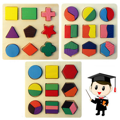 Kids Baby Wooden Geometry Building Blocks Puzzle Early Learning Educational Toy