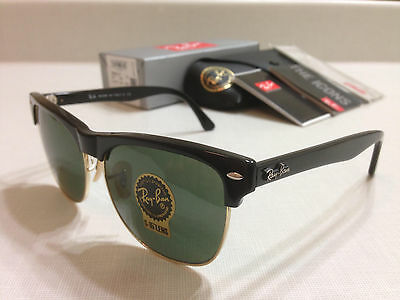 Ray-Ban RB4175 877 CLUBMASTER OVERSIZED SHINY BLACK/Classic Green Lens 57 mm