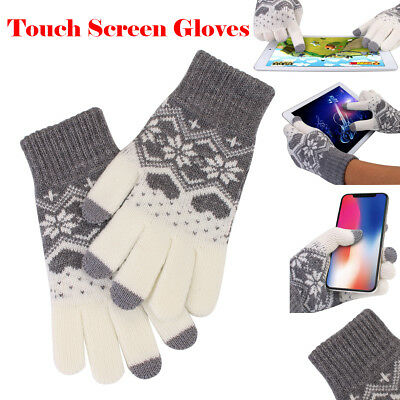 Men Women Touch Screen Full Finger Knitted Gloves Warm Winter F Smart Phone iPad