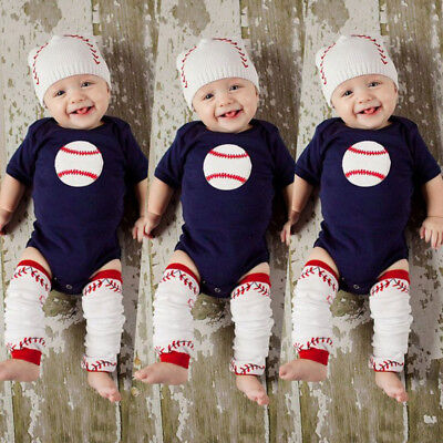 Baby Boys Girl Rugby Short Sleeve Tops Romper Pants Outfits Set Clothes AU Stock