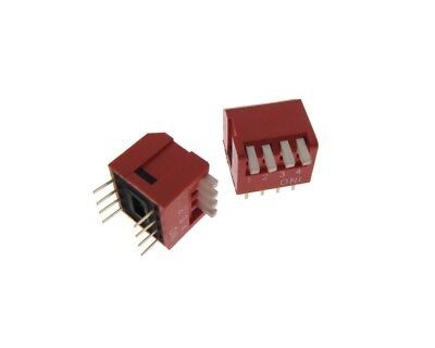 "4 Position DIP Switch 2.54mm 0.1"" Pitch Right Angle - Pack of 5"