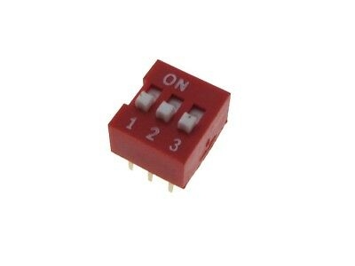 "3 Position DIP Switch 2.54mm 0.1"" Pitch - Pack of 10"