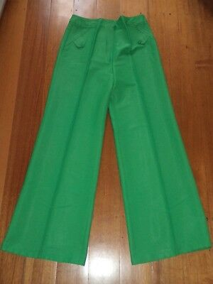 COLLECTIBLE AYWON 1970s RETRO FLARES PANTS VIVID GREEN EXCELLENT CONDITION