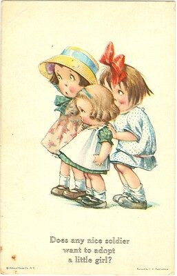 """Kinder """"Does any nice soldier want to adop a little girl ?"""", um 1920/30"""