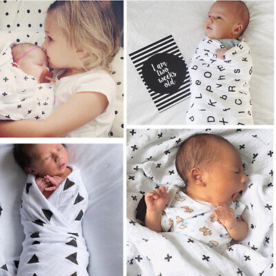 Newborn Baby Muslin Cotton Swaddle Blanket Parisarc Wrap Bath Towel Sleeping Bag