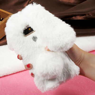 Luxury Bling Diamond Bunny Rabbit Fur Plush Fuzzy Fluffy Soft Phone Case Cover