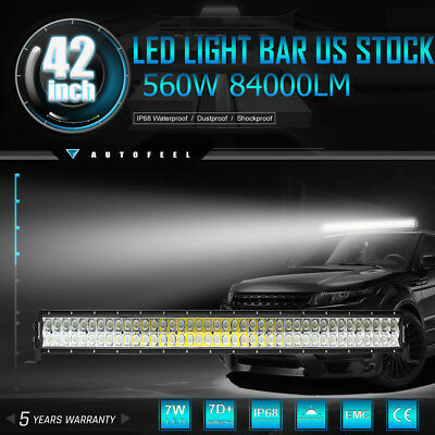 """42Inch 560W CREE LED Light Bar Flood Spot for OFFROAD FORD JEEP Conversion 32"""""""