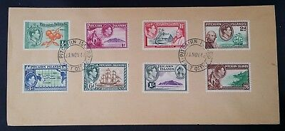 1948 Pitcairn Islands Cover ties set of 8 Definitive KGVI stamps canc Pitcairn