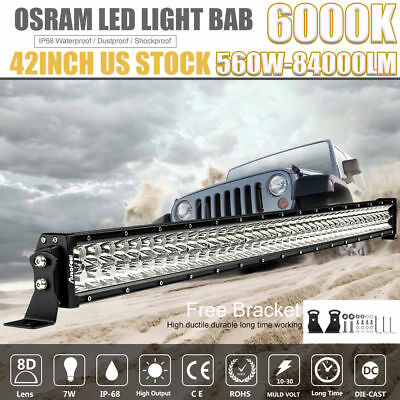 """OSRAM 42Inch 560W LED Light Bar Flood Spot for Offroad FORD JEEP Dodge 50""""54""""32"""