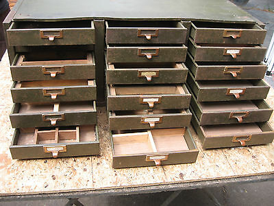 Vintage Industrial Metal Parts Cabinet 18 Drawers Very Heavy Brass Pulls
