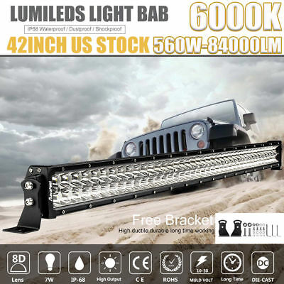 """42Inch 560W LED Light Bar Flood Spot for Offroad FORD JEEP Dodge SUV50""""54""""32""""42"""""""