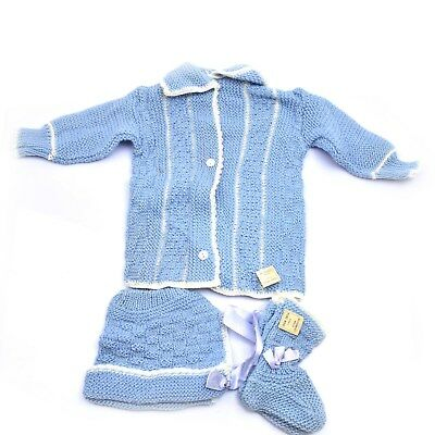 Vintage Wool Baby Boys Knitted Sweater Hat and Booties Set NEW
