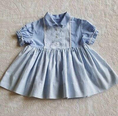 Vintage Baby Girls Toddler Blue Striped 1950s Dress Childrens Clothes