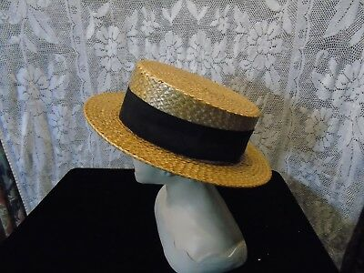 Vintage mens Boater Straw Hat Young Bros New Your Frank Mader