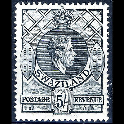 SWAZILAND 1938-54 5s Grey Perf 13.5 x 14. SG 37b. Lightly Hinged Mint. (AM349)