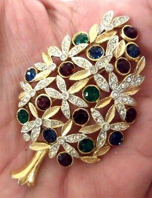 "Stunning Vintage Estate Signed A1266 Rhinestone Christmas 2 1/2"" Brooch!! 7978Z"