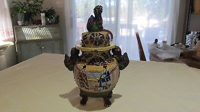 Very Old 3 Footed Pottery Satsuma Vase With Foo Daugs