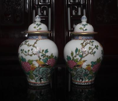 Old Pair Famille Rose Chinese Porcelain Pots with Lid Qianlong MK