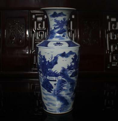 Old Rare Blue and White Chinese Porcelain Landscape Vase Kangxi MK H17""