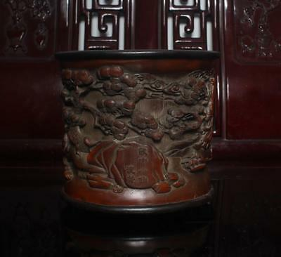 Old Chinese Carved Bamboo Brush Pot Shenqian MK 7""