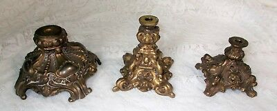 3 Vintage Ornate Cast Brass Tone Metal Lamp Bases (1) Accurate Casting