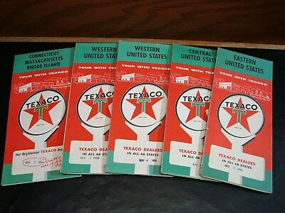 5-Vintage Texaco Road Maps  Great Color Awesome Graphics