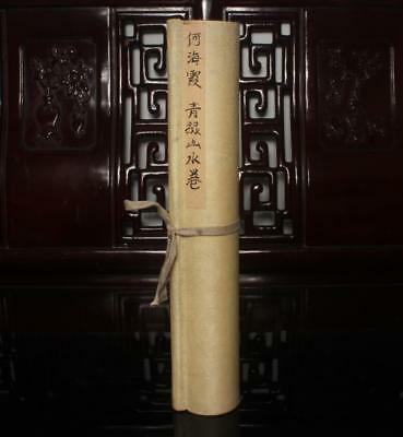 Chinese Old He Haixia Scroll Painting Landscape 180""