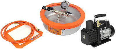 Best Value Vacs 1 Gallon Flat SS Vacuum Chamber and VE225 4CFM 2 Stage Pump Kit