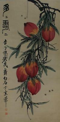 Chinese Old Qi Baishi Scroll Painting Peaches 77""