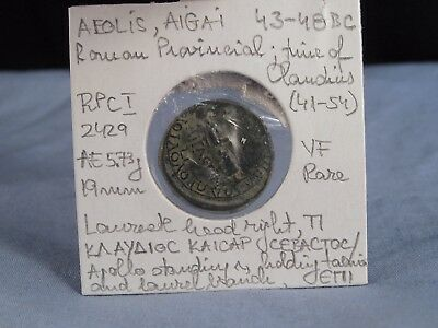 Ancient Greek Coin Aiolis Aigai 43-48Bc Vf Roman Provincial Claudius Rare