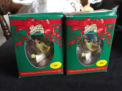 """2 Pocket Dragons """"Toot"""" Ornaments Never Used 2001"""