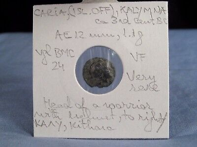 ANCIENT GREEK COIN CARIA KALYMNA 3rd CENTURY BC VF VERY RARE