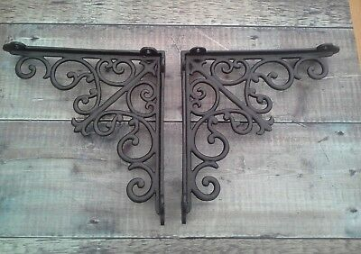Pair of Cast Iron Victorian Antique Shelf Brackets 10 Inch Vintage Scroll
