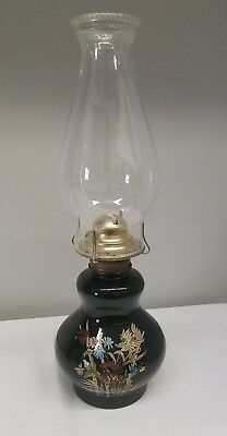 Vintage Oil Hurricane Lamp Kaadan Ltd. Black Gloss Glass Floral Design 15 3/4""