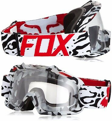 YOUTH FOX AIRSPACE MOTOCROSS MX GOGGLES CAUZ WHITE RED tear-off bike airspc KIDS