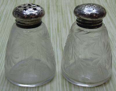Sterling Silver Top Glass Etched Salt & Pepper Shakers Bell Shape