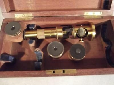 Antique Brass Microscope & Accessories In Fitted Case