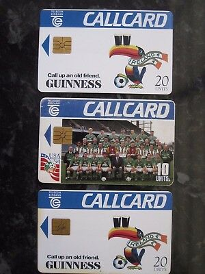 3 Republic of Ireland Football Team Phonecards