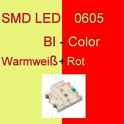 1/10/20 Stück SMD LED 0605 Bi-Color Warmweiß/Rot Duo LED Bicolor C3248