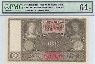 NETHERLANDS 1942 100 GULDEN NOTE, P51c, PMG 64EPQ