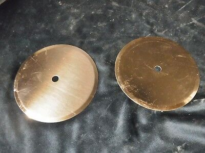 """pair Vintage MCM LARGE COPPER ROUND DISCS Drawer Pull Knob Backing Plate 4.75"""""""