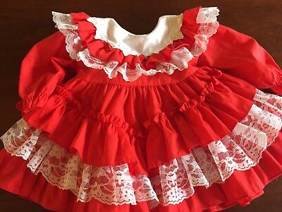 Vintage Baby Girl Frilly Christmas Dress Party Lace Ruffle 6  9 12 Month